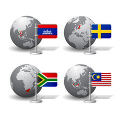 gray earth globes with designation of cambodia vector image