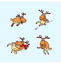 Happy cartoon christmas deer vector