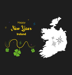Happy new year theme with map of ireland vector
