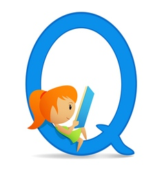 letter q girl vector image vector image
