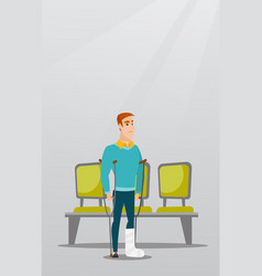 Man with broken leg and crutches vector