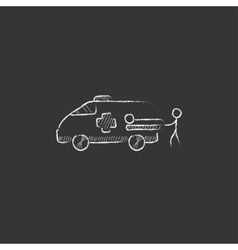 Man with patient and ambulance car drawn in chalk vector