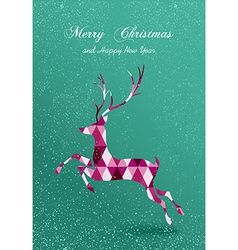 Merry christmas abstract geometric reindeer card vector