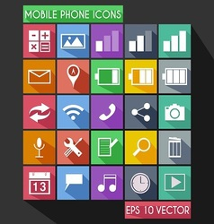 Mobile phone flat icon long shadow vector