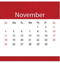 November 2018 calendar popular red premium for vector