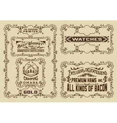 Old advertisements and frames pack- vintage vector