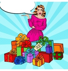 Pop art surprised woman with huge gift boxes vector