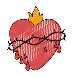 sacred jesus heart icon vector image vector image