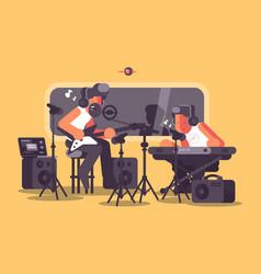 sound recording studio with audio equipment vector image