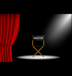 Theater stage with curtain and chair for director vector