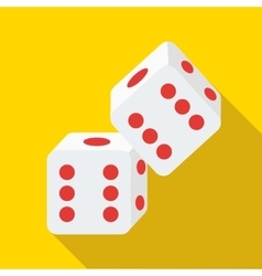 Two rolling white dice icon flat style vector
