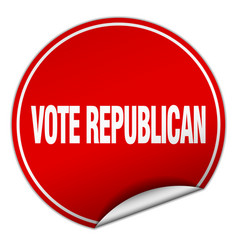 Vote republican round red sticker isolated on vector