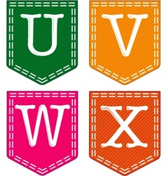 Four Letters U V W X vector image