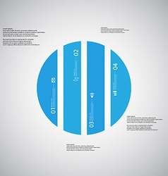 Circle template consists of four blue parts on vector
