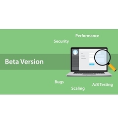 Beta version software concept with laptop and vector