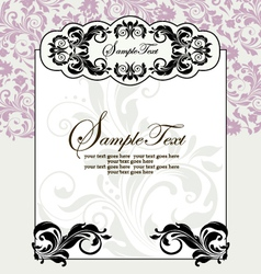 Ornate frame on purple floral background vector