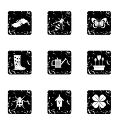 Garden maintenance icons set grunge style vector
