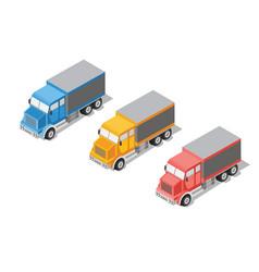 Set cargo truck vector