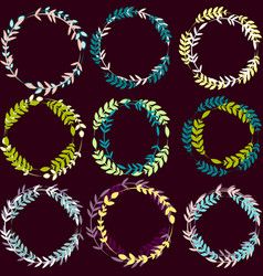 Set of wreaths with leaves vector
