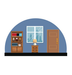 Room interior bookshelf encyclopedia clock trophy vector