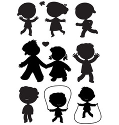 Nine children black silhouettes vector