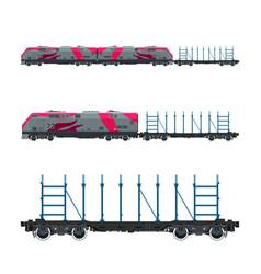 Pink locomotive with railway platform vector