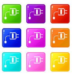 Mini charger set 9 vector