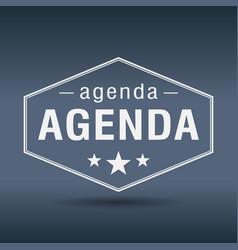 Agenda hexagonal white vintage retro style label vector