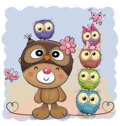 Cute cartoon teddy bear and five owls vector
