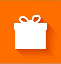 Abstract christmas gift box on orange background vector