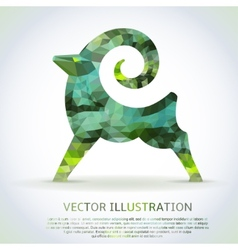 Geometric green shape of the goat vector