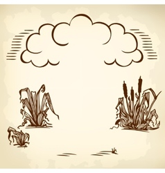Clouds and reeds brown vector