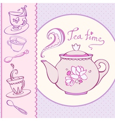 Teatime greeting card with mugs vector