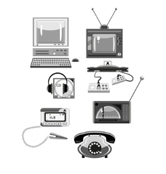Set of retro devices in shades of gray vector