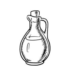 Olive oil bottle sketch with handle and cork vector