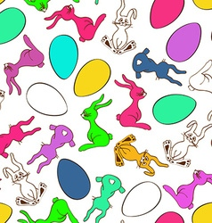 Seamless pattern of bunny rabbits and easter eggs vector