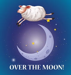 Old saying over the moon vector