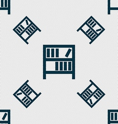 Bookshelf icon sign seamless pattern with vector