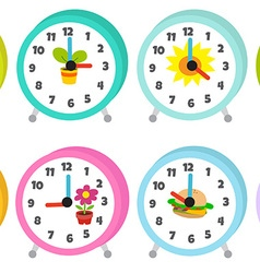 12 colorful table clocks vector