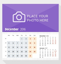 December 2016 desk calendar for 2016 year week vector