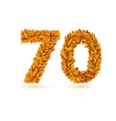 70 number of autumn fall bright orange leaves vector