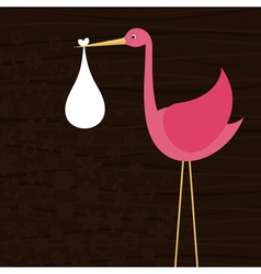 Stork bears child vector