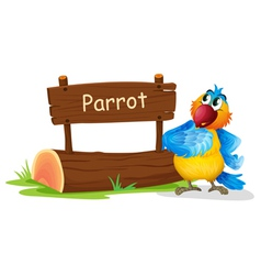 A wooden signage with a colorful bird vector image vector image