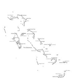 Bahamas black white map vector