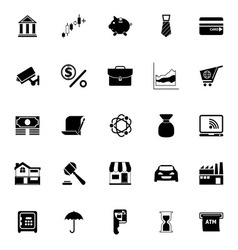 Banking and financial icons on white background vector image