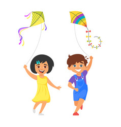 boy and girl with kites vector image