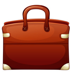 Brown briefcase on white background vector