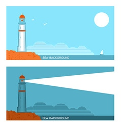 collection set of banners about lighthouse in blue vector image vector image