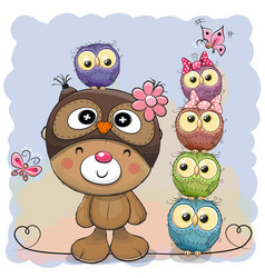 cute cartoon teddy bear and five owls vector image