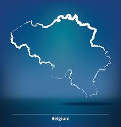 Doodle map of belgium vector